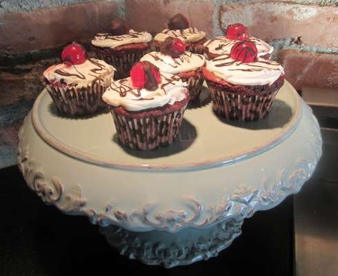 Red Velvet Amaretto Cupcakes with Maraschino Cherries