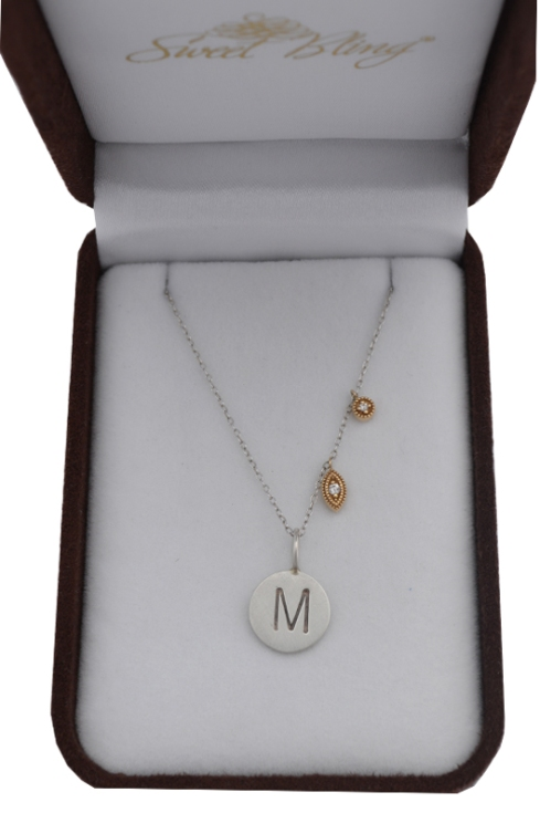 Sweet Bling's Initial Necklace with Diamond Dangles
