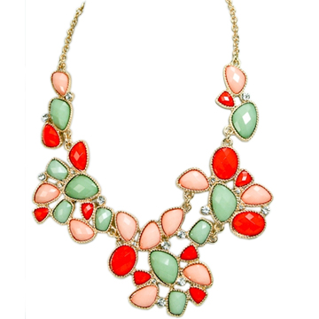 Mint and Coral Statement Necklace