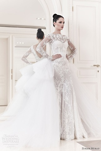 zuhair-murad-bridal-2014-diana-long-sleeve-lace-wedding-dress-tulle-ball-gown-over-skirt